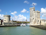 La Rochelle, entry in the historic harbor (France)