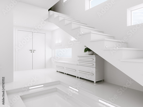 White entrance hall interior 3d render