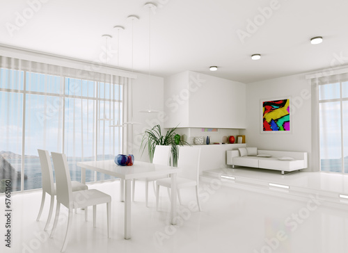 White living room 3d render