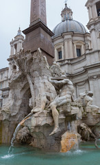 Sculpture at Trevi Fountain from an Angle