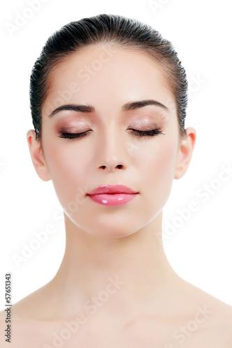 Beautiful girl with clean fresh skin, white background, copyspac