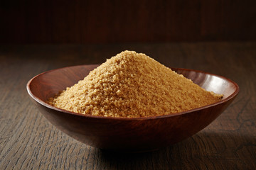 brown sugar in a wooden bowl