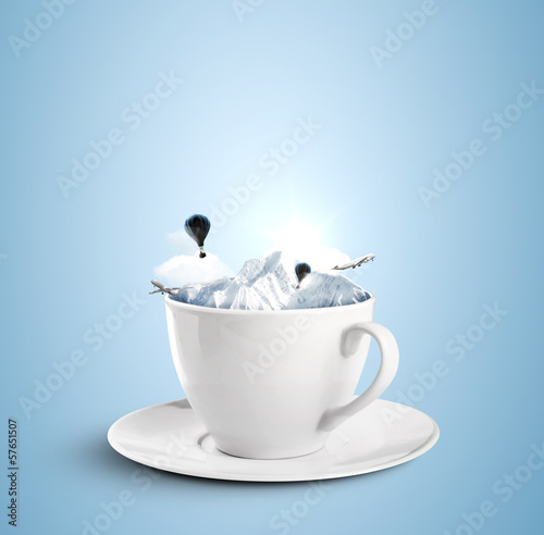 cup with mountains