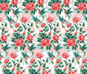 Seamless pattern with roses and hummingbird.