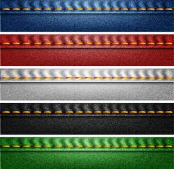 Denim color banners set
