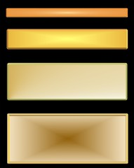 toned gold metal nameplates over black