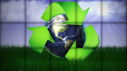 Recycle Earth in Falling Cubes, with Green Screen, Loop