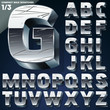 Silver chrome or aluminum 3D alphabet.  Slab style. Set