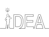 Black line art illustration of the word 'IDEA' with a man in it.