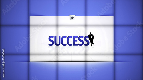 Success Text in Falling Cubes, with Green Screen, Loop