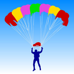 Skydiver, silhouettes parachuting vector illustration