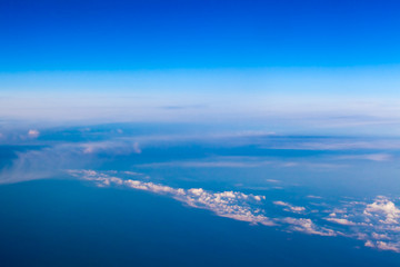 clouds. view from the window of an airplane. Sky and clouds. Pla