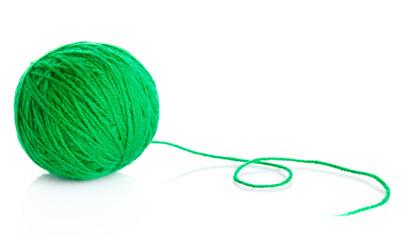 Green wool yarn ball isolated on white