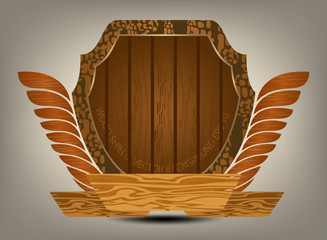 Wooden shield on a gray background