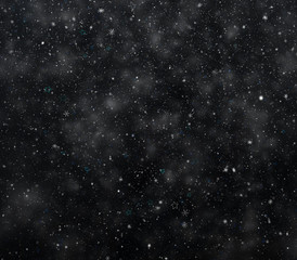 Frosty winter background, falling snowflakes and stars