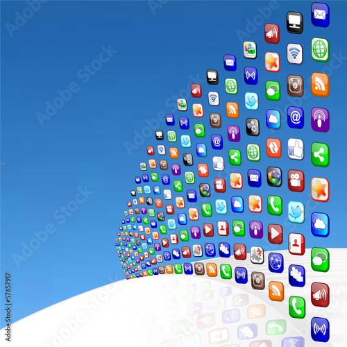 Social Media Wall Blue