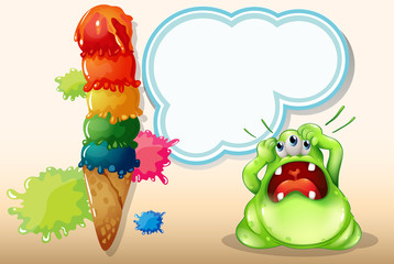 A monster with a headache standing near the giant icecream