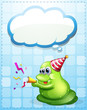 A green monster celebrating with an empty cloud template