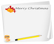 An empty christmas card template with a sharpener and a pencil
