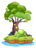 A monster sleeping under the treehouse in the island