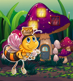 A flying bee near the enchanted mushroom house