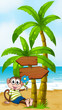 A beach with a smiling monkey sitting under the wooden arrowboar