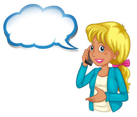 A woman using a phone with an empty cloud template