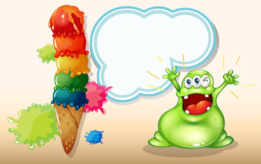 A fat green monster shouting near the giant icecream