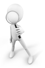 3d-man holding a big magnifying glass