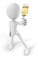 3d-man showing a glass of Champagne