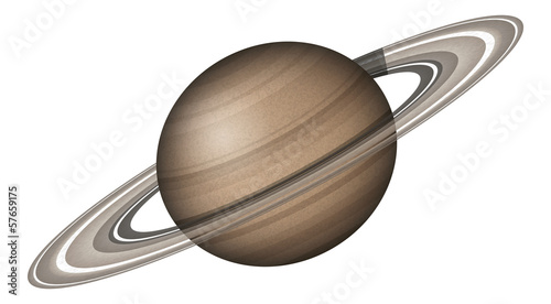 Planet Saturn, isolated on white