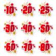 Stickers pourcentages rouges et or