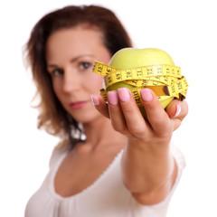 Apfel Maßband Diät Frau
