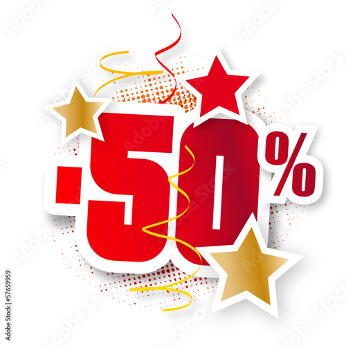 Sticker pourcentage rouge et or (-50%)