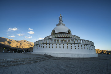 Shanti Stupa Landmark Monument in Leh city-India