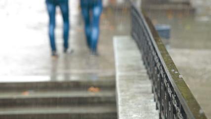 Rain on a city street