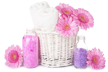 bath and spa set with flowers isolated