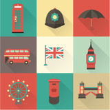 Fototapety London vintage icons