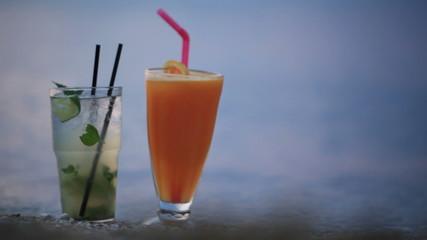 Cocktails at evening seashore