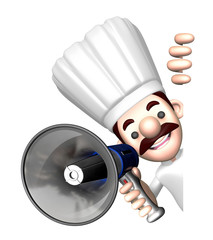 3D Chef Mascot the hand is holding a loudspeaker. Work and Job C