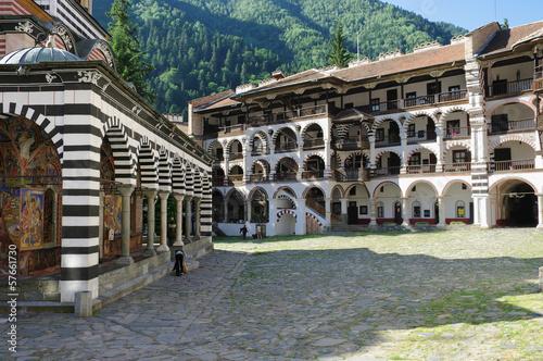 stacked porches of the Rila Monastery, Bulgaria