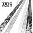 Detail black tire tracks on white
