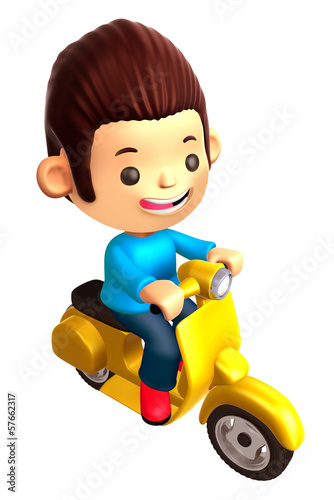 Boys Mascot Driving a motorbike dynamic. 3D Family and Children
