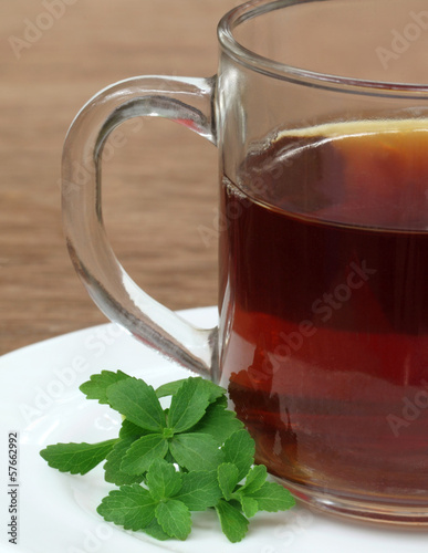 Stevia with cup of tea