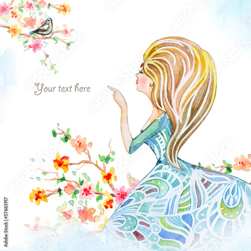 Foto op Canvas Bloemen vrouw Girl in flowers watercolor