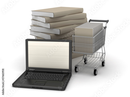 Laptop, books and shopping cart