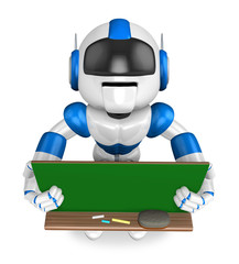 Blue robot Character is holding a blackboard with both hands. Cr