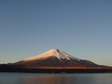 Mount Fuji at dawn over lake Kawaguchi