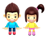 Flexibility as possible a sets of 3D Boy and girl Mascot. 3D Fam