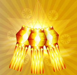 Beautiful diwali hanging lamp festival colorful background vecto